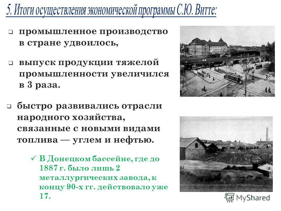В Донецком бассейне, где до 1887 г. было лишь 2 металлургических завода, к концу 90-х гг. действовало уже 17. промышленное производство в стране удвоилось, выпуск продукции тяжелой промышленности увеличился в 3 раза. быстро развивались отрасли наро