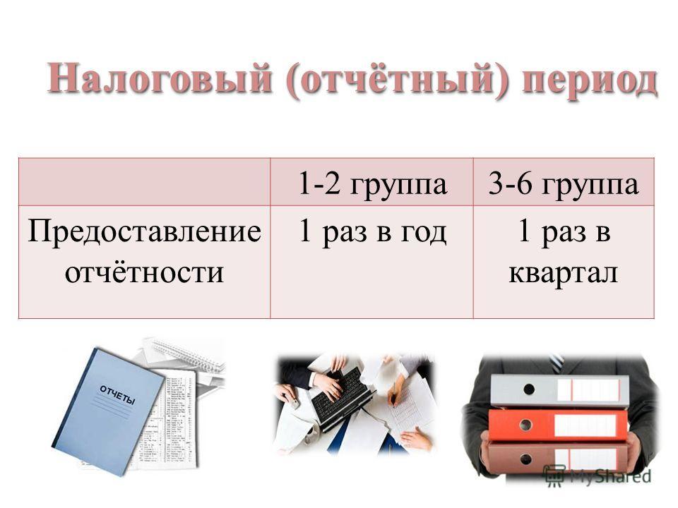 1-2 группа3-6 группа Предоставление отчётности 1 раз в год1 раз в квартал