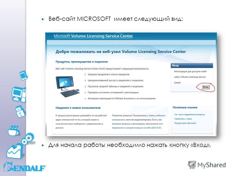 Веб-сайт MICROSOFT имеет следующий вид: Для начала работы необходимо нажать кнопку «Вход».