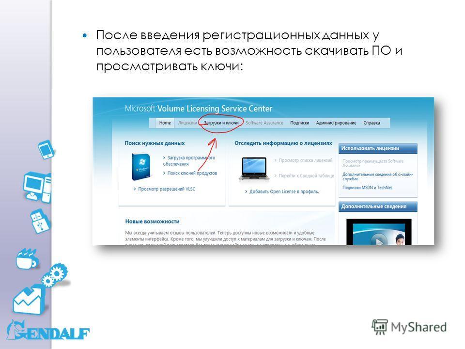 После введения регистрационных данных у пользователя есть возможность скачивать ПО и просматривать ключи: