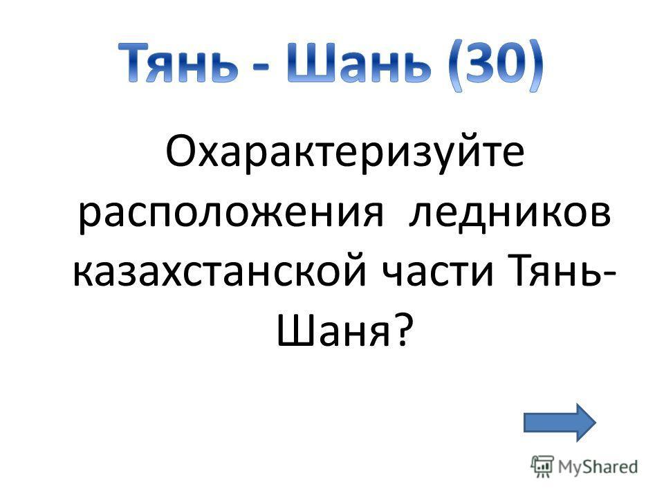Охарактеризуйте расположения ледников казахстанской части Тянь- Шаня?