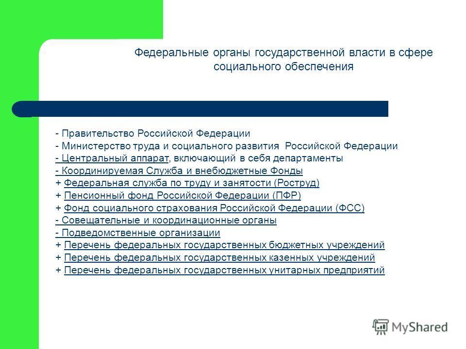 Федеральные органы государственной власти в сфере социального обеспечения - Правительство Российской Федерации - Министерство труда и социального развития Российской Федерации - Центральный аппарат- Центральный аппарат, включающий в себя департаменты