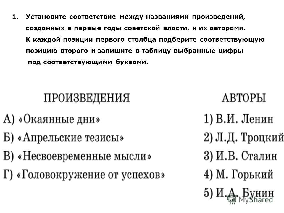 1.Установите соответствие между названиями произведений, созданных в первые годы советской власти, и их авторами. К каждой позиции первого столбца подберите соответствующую позицию второго и запишите в таблицу выбранные цифры под соответствующими бук