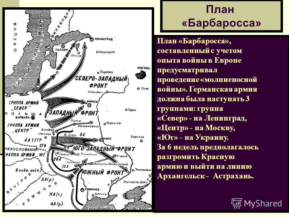 План «Барбаросса» План «Барбаросса», составленный с учетом опыта войны в Европе предусматривал проведение «молниеносной войны». Германская армия должна была наступать 3 группами: группа «Север» - на Ленинград, «Центр» - на Москву, «Юг» - на Украину.