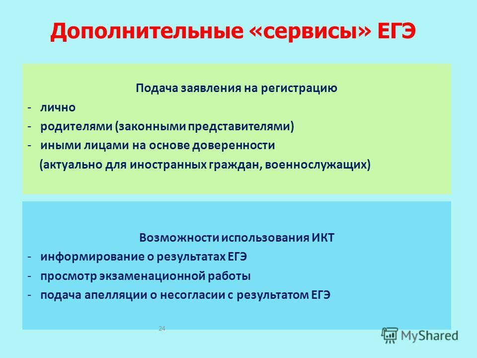 Дополнительные «сервисы» ЕГЭ Подача заявления на регистрацию - лично - родителями (законными представителями) - иными лицами на основе доверенности (актуально для иностранных граждан, военнослужащих) Возможности использования ИКТ - информирование о р