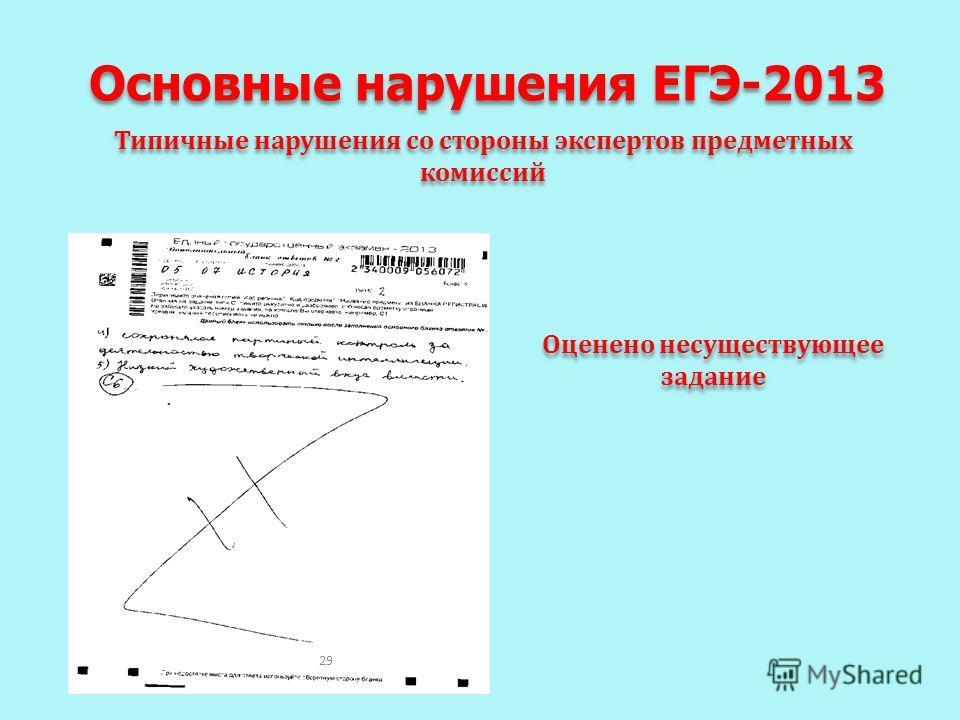 Основные нарушения ЕГЭ-2013 Типичные нарушения со стороны экспертов предметных комиссий Оценено несуществующее задание Оценено несуществующее задание 29