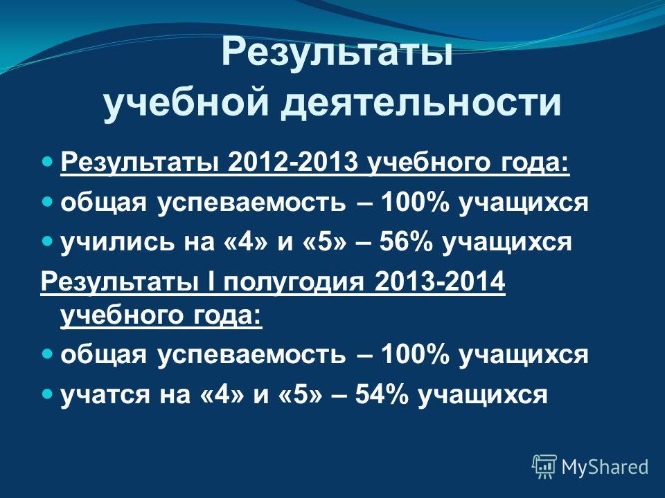 Результаты учебной деятельности Результаты 2012-2013 учебного года: общая успеваемость – 100% учащихся учились на «4» и «5» – 56% учащихся Результаты I полугодия 2013-2014 учебного года: общая успеваемость – 100% учащихся учатся на «4» и «5» – 54% уч