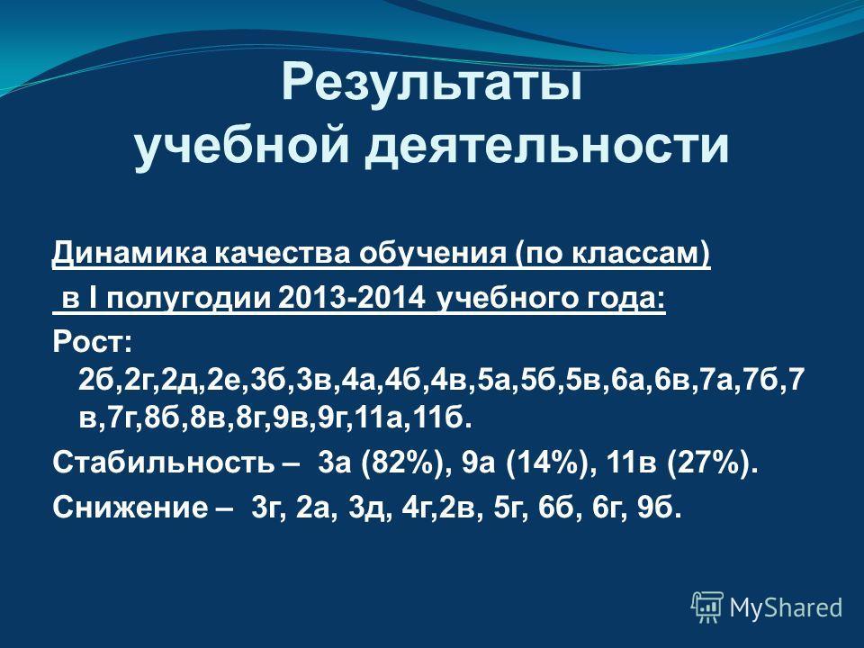 Результаты учебной деятельности Динамика качества обучения (по классам) в I полугодии 2013-2014 учебного года: Рост: 2б,2г,2д,2е,3б,3в,4а,4б,4в,5а,5б,5в,6а,6в,7а,7б,7 в,7г,8б,8в,8г,9в,9г,11а,11б. Стабильность – 3а (82%), 9а (14%), 11в (27%). Снижение