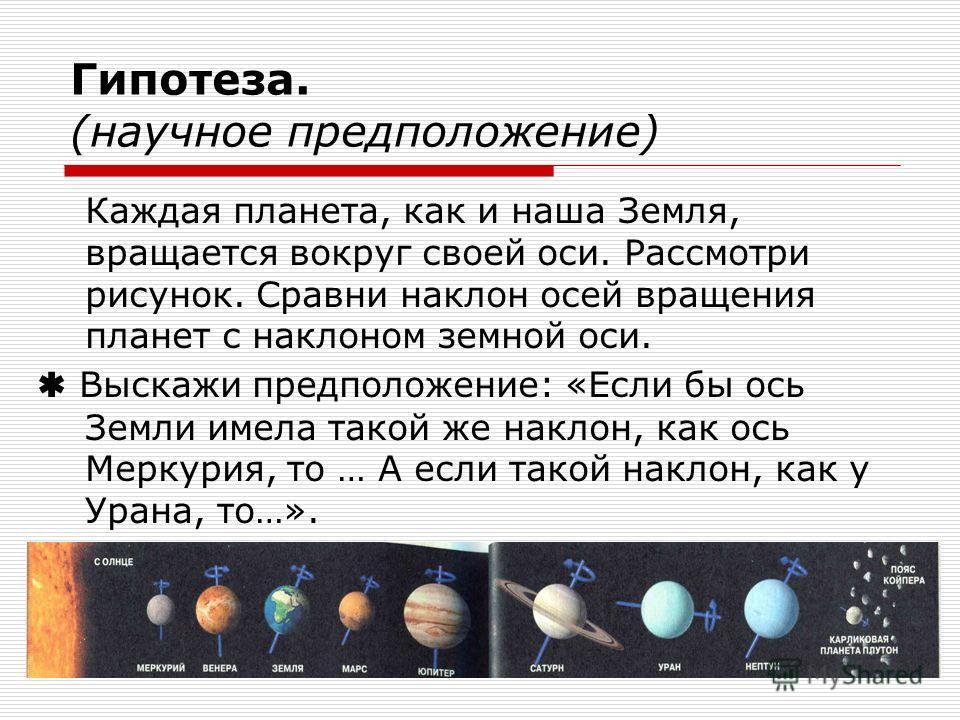 33 Гипотеза. (научное предположение) Каждая планета, как и наша Земля, вращается вокруг своей оси. Рассмотри рисунок. Сравни наклон осей вращения планет с наклоном земной оси. Выскажи предположение: «Если бы ось Земли имела такой же наклон, как ось М