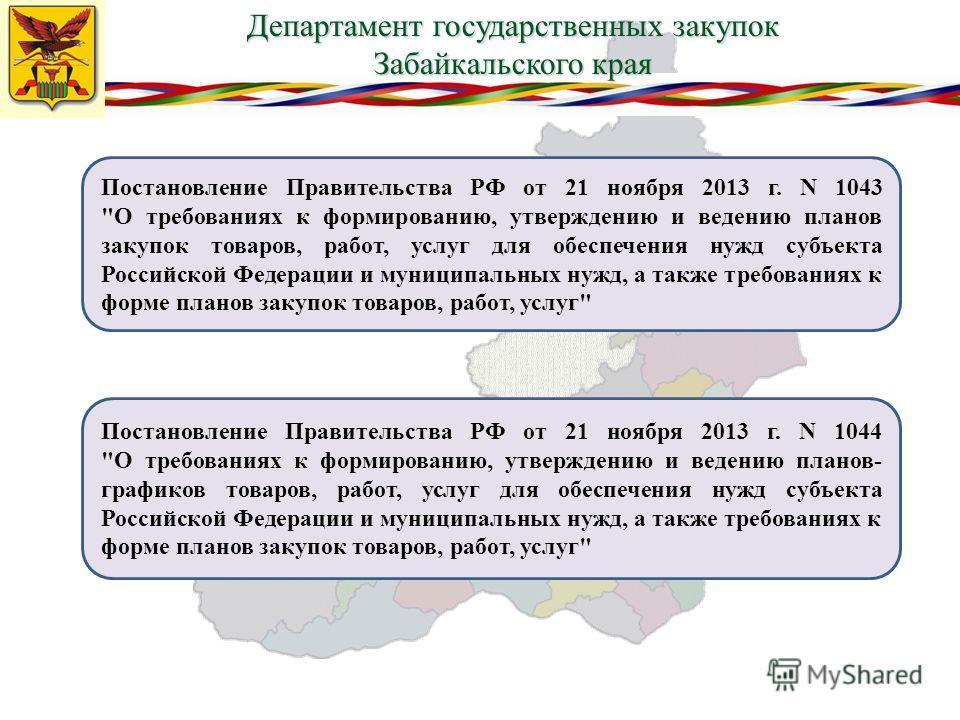 Департамент государственных закупок Забайкальского края Постановление Правительства РФ от 21 ноября 2013 г. N 1043