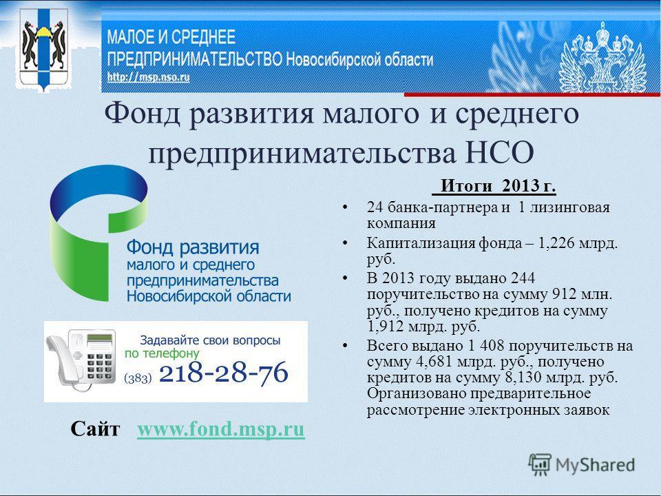 Фонд развития малого и среднего предпринимательства НСО Итоги 2013 г. 24 банка-партнера и 1 лизинговая компания Капитализация фонда – 1,226 млрд. руб. В 2013 году выдано 244 поручительство на сумму 912 млн. руб., получено кредитов на сумму 1,912 млрд