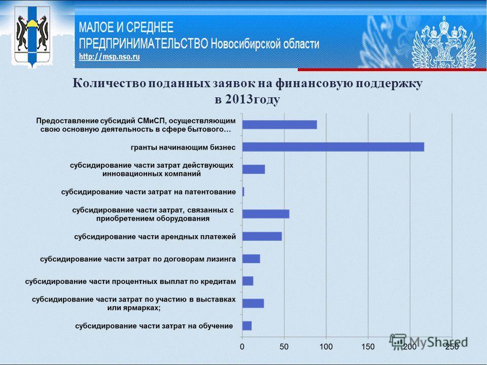 Количество поданных заявок на финансовую поддержку в 2013году