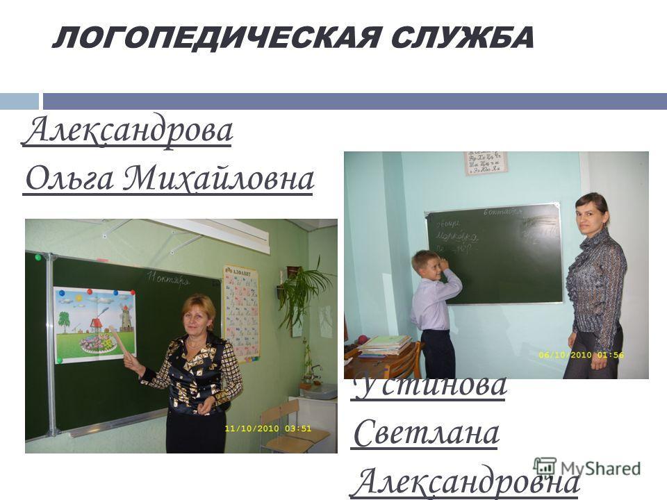 ЛОГОПЕДИЧЕСКАЯ СЛУЖБА Александрова Ольга Михайловна Устинова Светлана Александровна