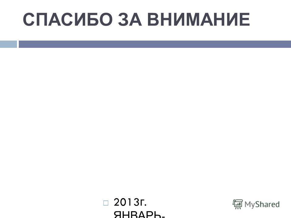 СПАСИБО ЗА ВНИМАНИЕ 2013 г. ЯНВАРЬ - ФЕВРАЛЬ