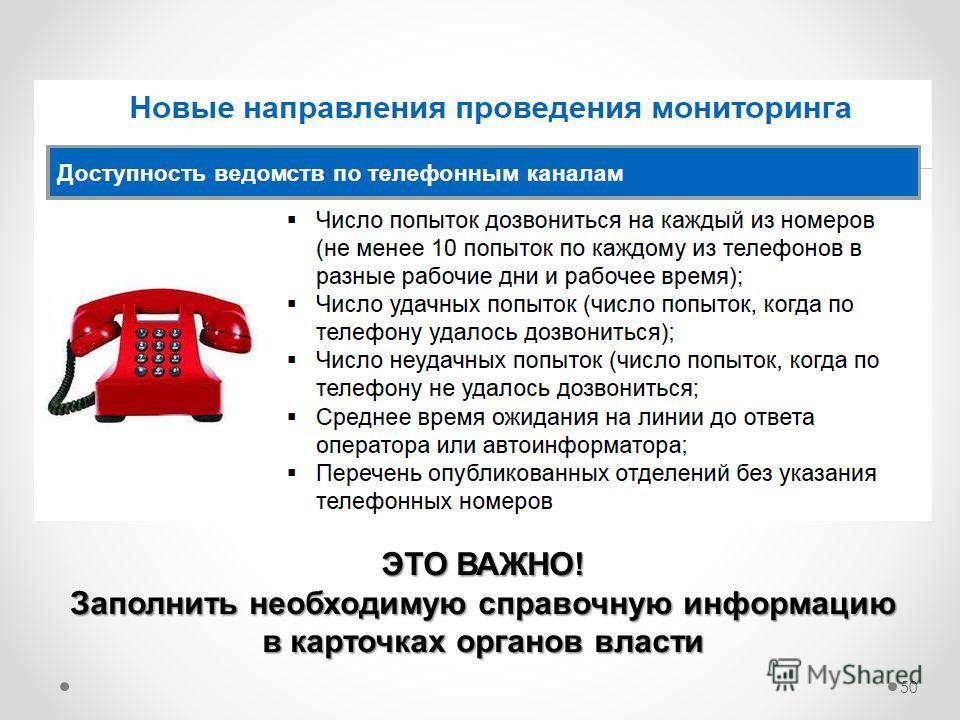 50 ЭТО ВАЖНО! Заполнить необходимую справочную информацию в карточках органов власти