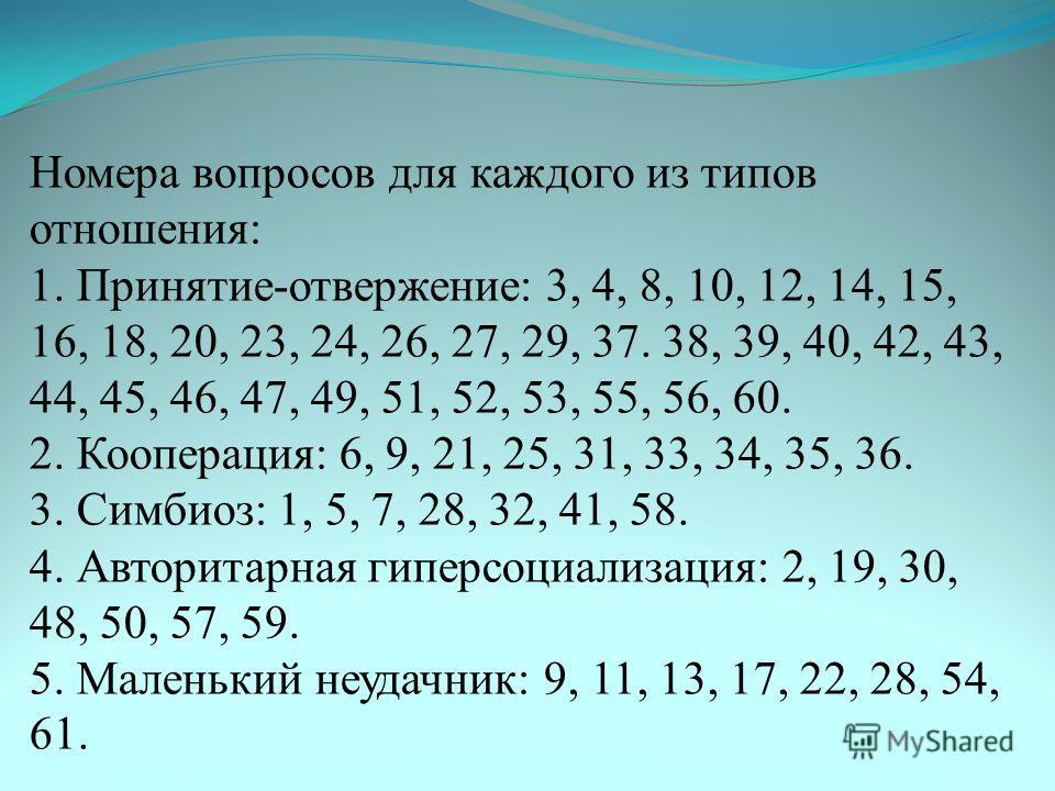 Номера вопросов для каждого из типов отношения: 1. Принятие-отвержение: 3, 4, 8, 10, 12, 14, 15, 16, 18, 20, 23, 24, 26, 27, 29, 37. 38, 39, 40, 42, 43, 44, 45, 46, 47, 49, 51, 52, 53, 55, 56, 60. 2. Кооперация: 6, 9, 21, 25, 31, 33, 34, 35, 36. 3. С