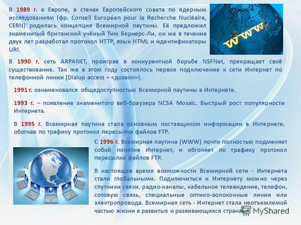 В 1989 г. в Европе, в стенах Европейского совета по ядерным исследованиям (фр. Conseil Européen pour la Recherche Nucléaire, CERN) родилась концепция Всемирной паутины. Её предложил знаменитый британский учёный Тим Бернерс-Ли, он же в течение двух ле