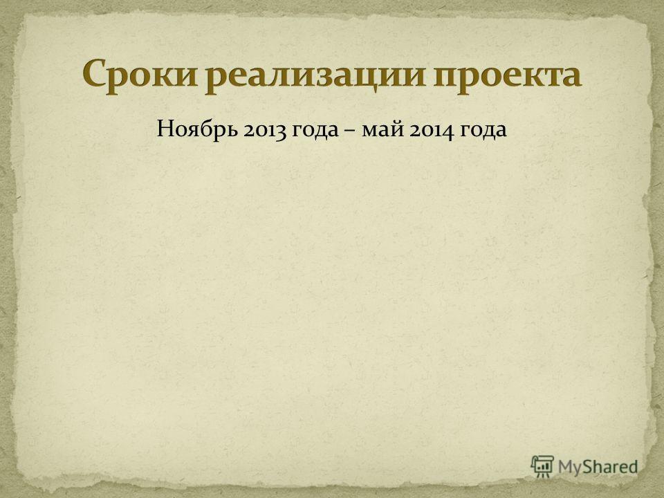 Ноябрь 2013 года – май 2014 года