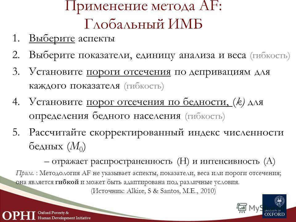 Применение метода AF: Глобальный ИМБ 1.Выберите аспекты 2.Выберите показатели, единицу анализа и веса (гибкость) 3.Установите пороги отсечения по депривациям для каждого показателя (гибкость) 4.Установите порог отсечения по бедности, (k) для определе