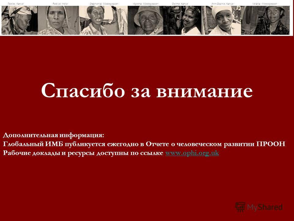 Спасибо за внимание Дополнительная информация: Глобальный ИМБ публикуется ежегодно в Отчете о человеческом развитии ПРООН Рабочие доклады и ресурсы доступны по ссылке www.ophi.org.ukwww.ophi.org.uk
