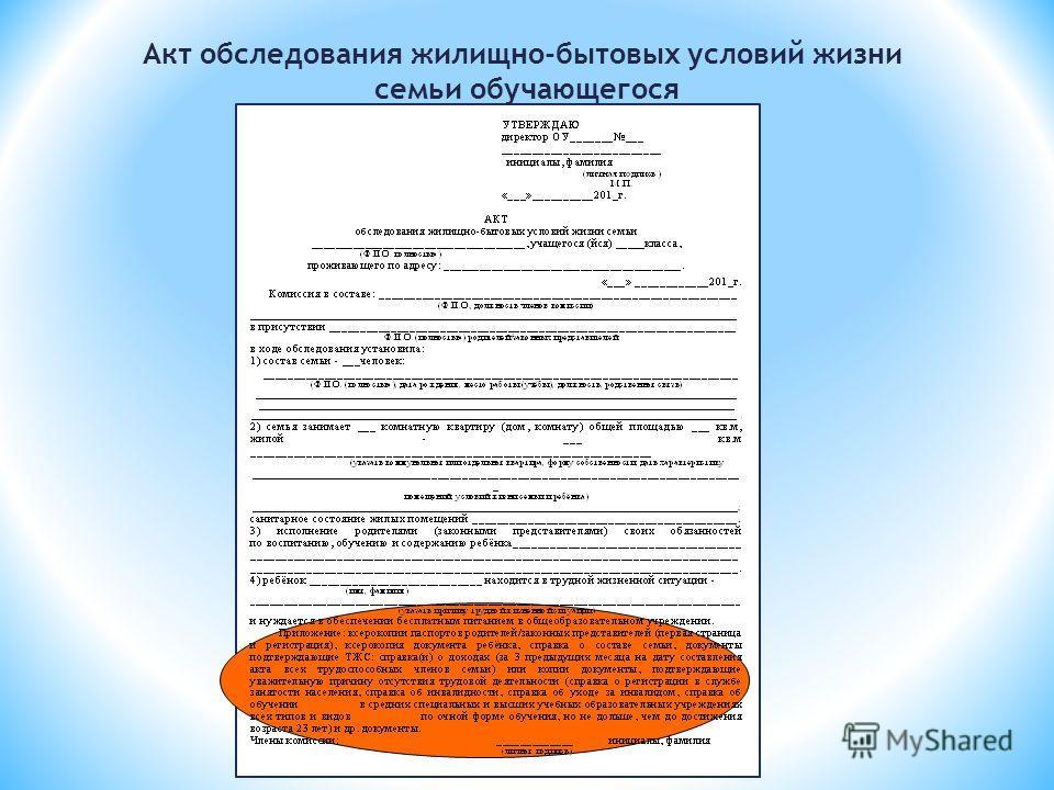 Акт обследования жилищно-бытовых условий жизни семьи обучающегося