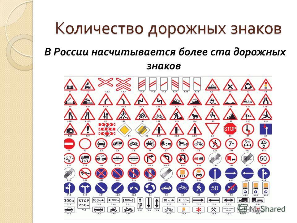 Количество дорожных знаков В России насчитывается более ста дорожных знаков