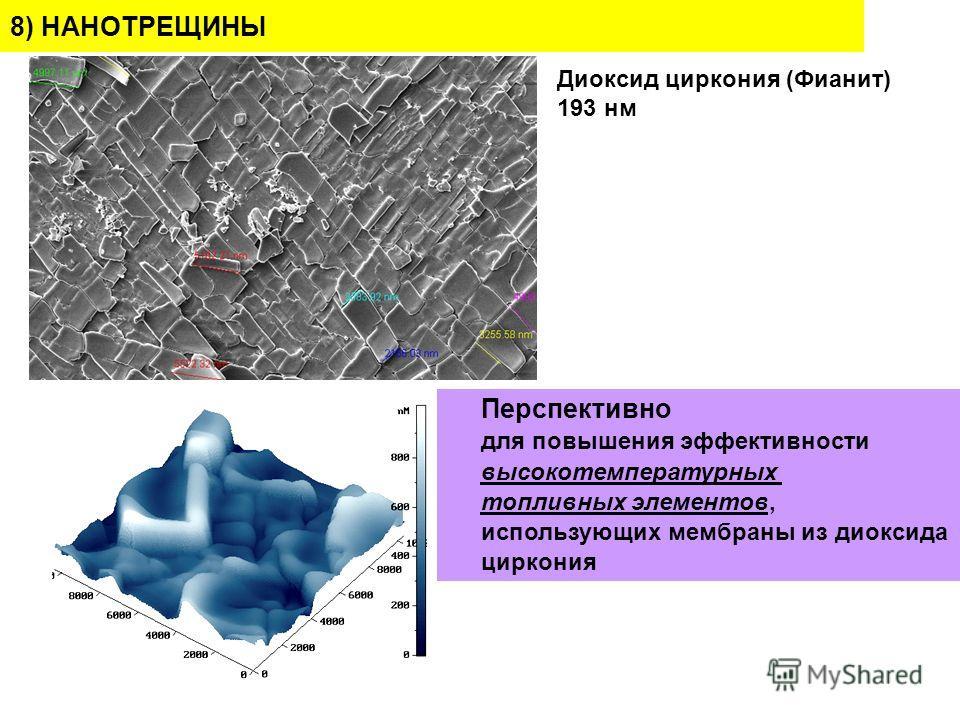 Диоксид циркония (Фианит) 193 нм 8) НАНОТРЕЩИНЫ Перспективно для повышения эффективности высокотемпературных топливных элементов, использующих мембраны из диоксида циркония