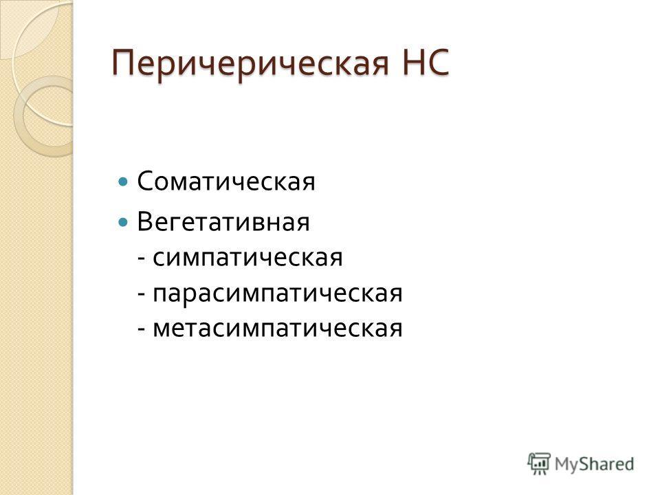 Перичерическая НС Соматическая Вегетативная - симпатическая - парасимпатическая - метасимпатическая