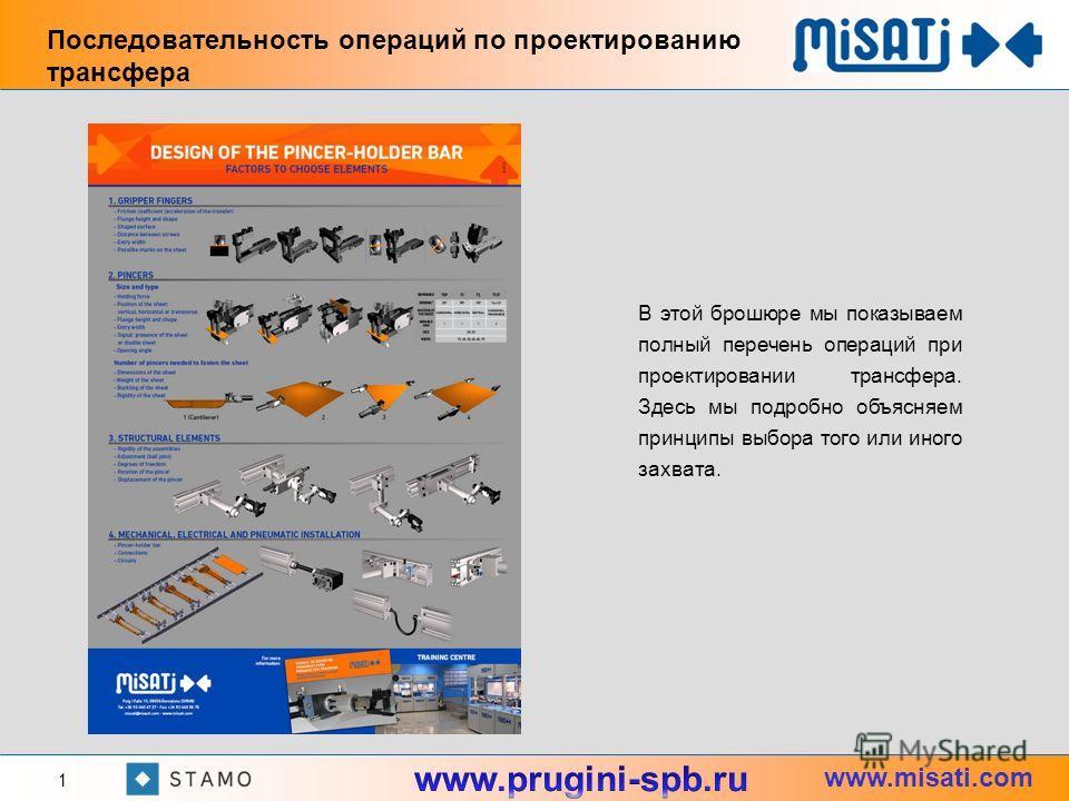 www.misati.com Последовательность операций по проектированию трансфера 1 В этой брошюре мы показываем полный перечень операций при проектировании трансфера. Здесь мы подробно объясняем принципы выбора того или иного захвата.