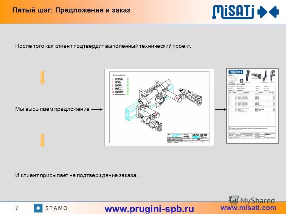 www.misati.com После того как клиент подтвердит выполенный технический проект. Мы высылаем предложение И клиент присылает на подтверждение заказа.. Пятый шаг: Предложение и заказ 7