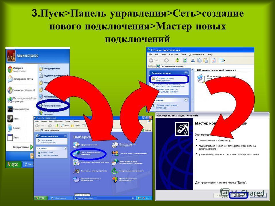 3. Пуск>Панель управления>Сеть>создание нового подключения>Мастер новых подключений
