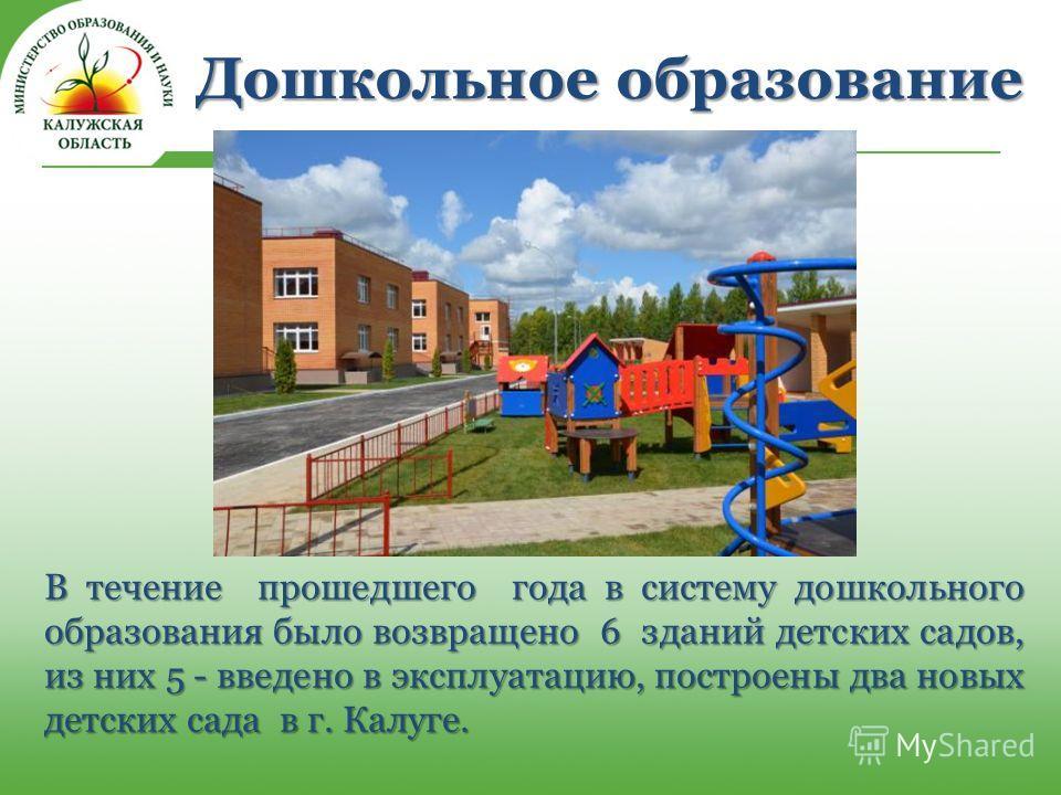 В течение прошедшего года в систему дошкольного образования было возвращено 6 зданий детских садов, из них 5 - введено в эксплуатацию, построены два новых детских сада в г. Калуге.