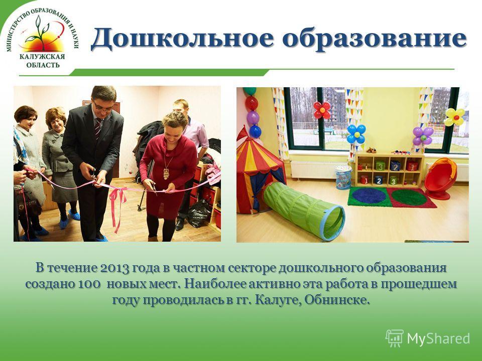 Дошкольное образование В течение 2013 года в частном секторе дошкольного образования создано 100 новых мест. Наиболее активно эта работа в прошедшем году проводилась в гг. Калуге, Обнинске.