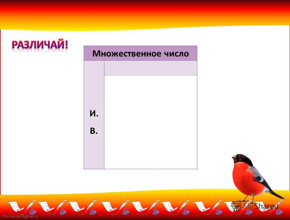 FokinaLida.75@mail.ru Множественное число И. В. какие? каких? -ые, -ие, -их, -ых золотые (руки) спелые (фрукты) синие (цветы) красных (снегирей) 12