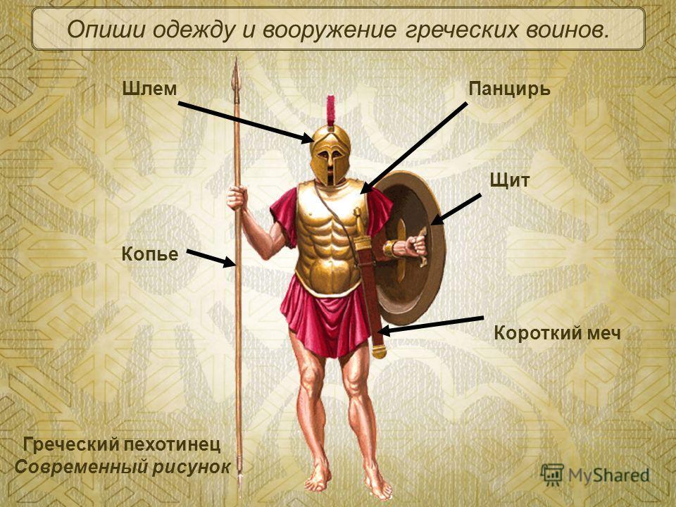Греческий пехотинец Современный рисунок Короткий меч Копье Щит ПанцирьШлем Опиши одежду и вооружение греческих воинов.