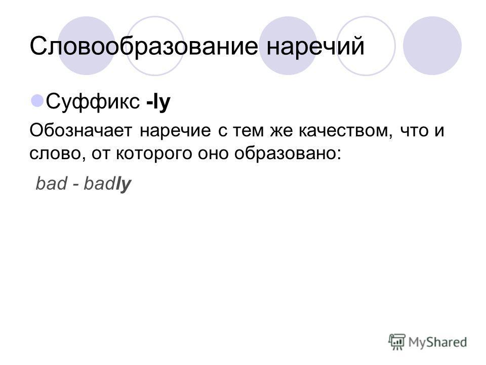 Словообразование наречий Суффикс -ly Обозначает наречие с тем же качеством, что и слово, от которого оно образовано: bad - badly