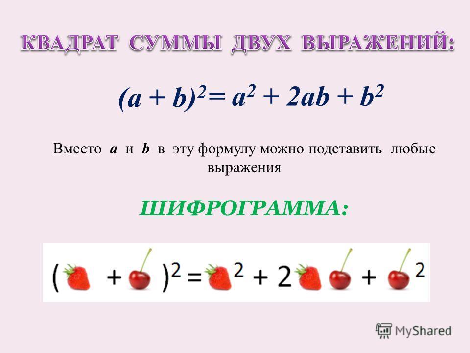 = а 2 + 2аb + b 2 Вместо a и b в эту формулу можно подставить любые выражения ШИФРОГРАММА: (а + b) 2