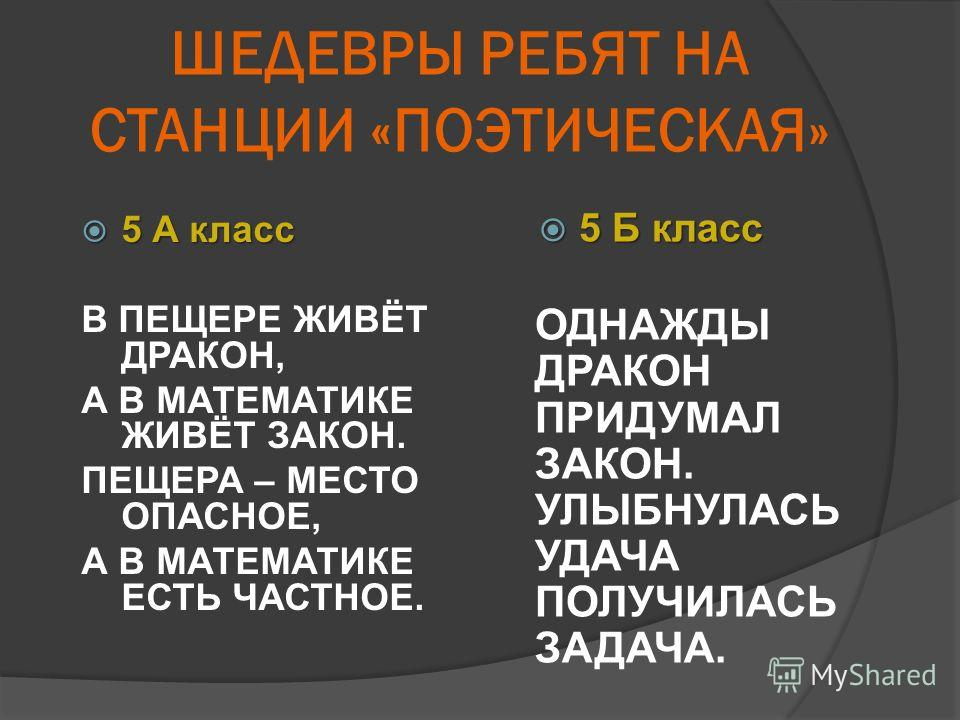 ШЕДЕВРЫ РЕБЯТ НА СТАНЦИИ «ПОЭТИЧЕСКАЯ» 5 А класс 5 А класс В ПЕЩЕРЕ ЖИВЁТ ДРАКОН, А В МАТЕМАТИКЕ ЖИВЁТ ЗАКОН. ПЕЩЕРА – МЕСТО ОПАСНОЕ, А В МАТЕМАТИКЕ ЕСТЬ ЧАСТНОЕ. 5 Б класс 5 Б класс ОДНАЖДЫ ДРАКОН ПРИДУМАЛ ЗАКОН. УЛЫБНУЛАСЬ УДАЧА ПОЛУЧИЛАСЬ ЗАДАЧА.
