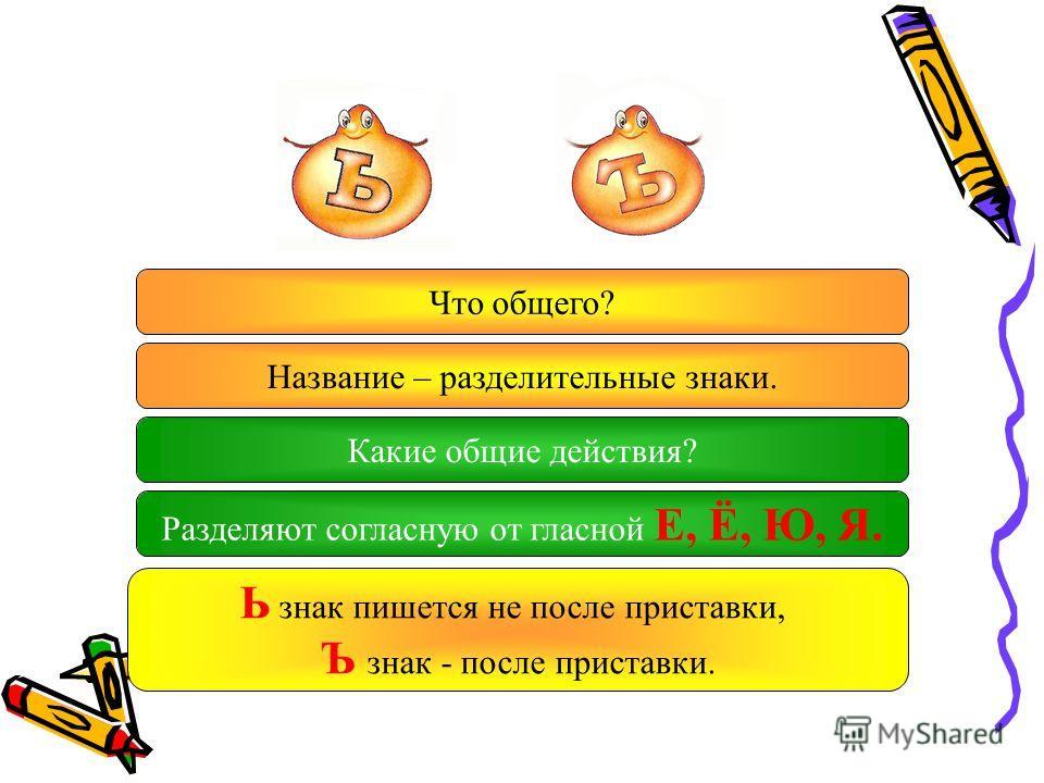 Что общего? Название – разделительные знаки. Какие общие действия? Разделяют согласную от гласной Е, Ё, Ю, Я. Ь знак пишется не после приставки, Ъ знак - после приставки.