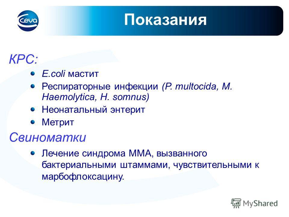 Показания КРС: E.coli мастит Респираторные инфекции (P. multocida, M. Haemolytica, H. somnus) Неонатальный энтерит Метрит Свиноматки Лечение синдрома ММА, вызванного бактериальными штаммами, чувствительными к марбофлоксацину.