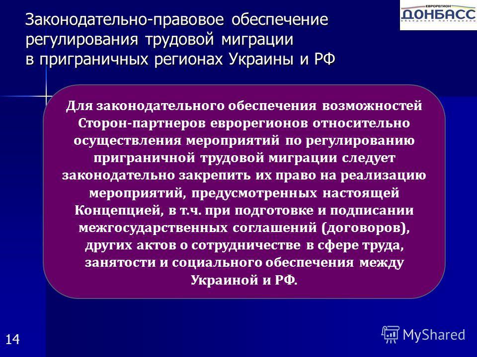 Законодательно-правовое обеспечение регулирования трудовой миграции в приграничных регионах Украины и РФ 14 Для законодательного обеспечения возможностей Сторон-партнеров еврорегионов относительно осуществления мероприятий по регулированию приграничн