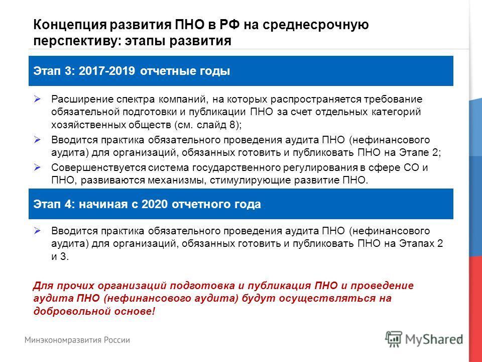7 Концепция развития ПНО в РФ на среднесрочную перспективу: этапы развития Этап 3: 2017-2019 отчетные годы Этап 4: начиная с 2020 отчетного года Расширение спектра компаний, на которых распространяется требование обязательной подготовки и публикации