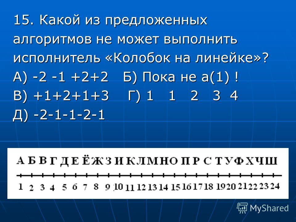 15. Какой из предложенных алгоритмов не может выполнить исполнитель «Колобок на линейке»? А) -2 -1 +2+2 Б) Пока не а(1) ! В) +1+2+1+3 Г) 1 1 2 3 4 Д) -2-1-1-2-1