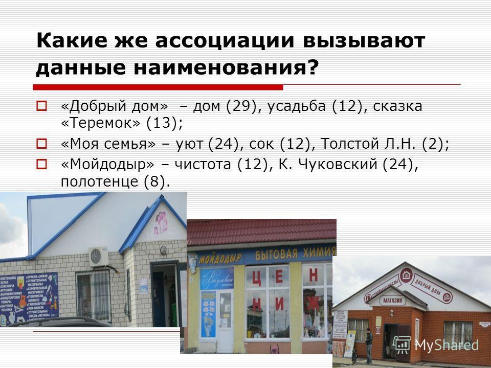 Какие же ассоциации вызывают данные наименования? «Добрый дом» – дом (29), усадьба (12), сказка «Теремок» (13); «Моя семья» – уют (24), сок (12), Толстой Л.Н. (2); «Мойдодыр» – чистота (12), К. Чуковский (24), полотенце (8).
