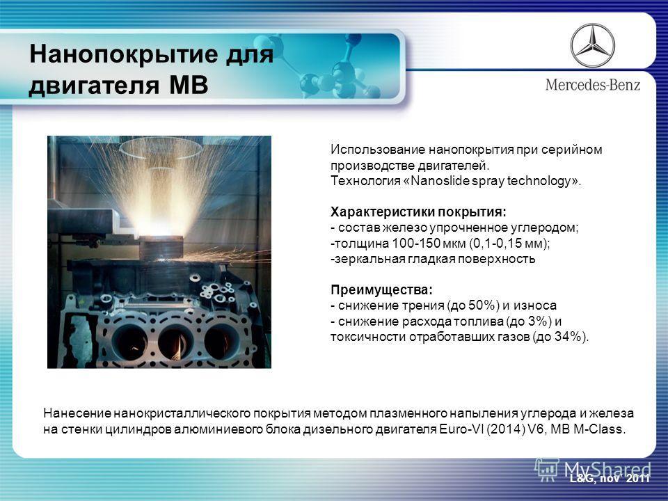 Нанопокрытие для двигателя МВ L&G, nov` 2011 Использование нанопокрытия при серийном производстве двигателей. Технология «Nanoslide spray technology». Характеристики покрытия: - состав железо упрочненное углеродом; -толщина 100-150 мкм (0,1-0,15 мм);