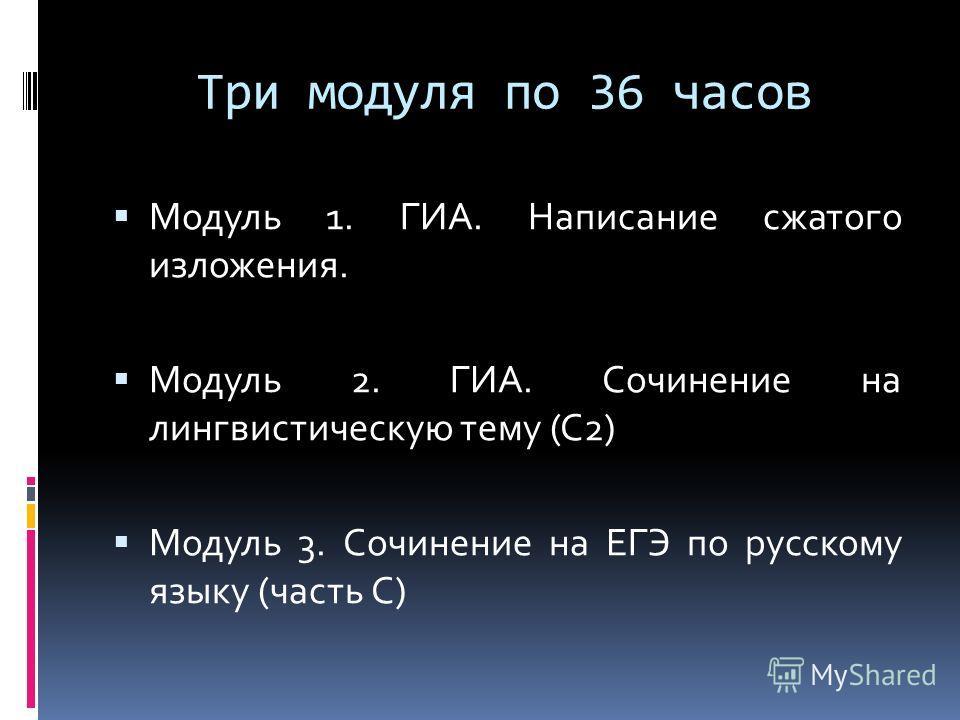Три модуля по 36 часов Модуль 1. ГИА. Написание сжатого изложения. Модуль 2. ГИА. Сочинение на лингвистическую тему (С2) Модуль 3. Сочинение на ЕГЭ по русскому языку (часть С)
