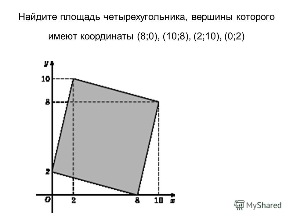 Найдите площадь четырехугольника, вершины которого имеют координаты (8;0), (10;8), (2;10), (0;2)
