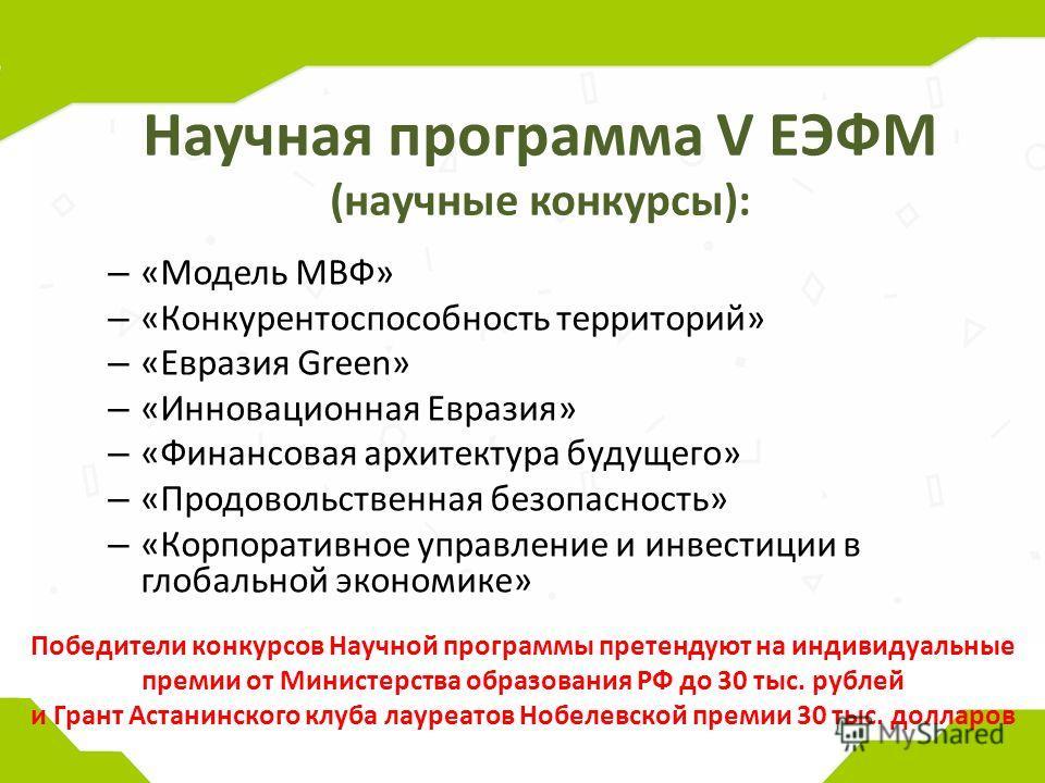 Научная программа V ЕЭФМ (научные конкурсы): – «Модель МВФ» – «Конкурентоспособность территорий» – «Евразия Green» – «Инновационная Евразия» – «Финансовая архитектура будущего» – «Продовольственная безопасность» – «Корпоративное управление и инвестиц