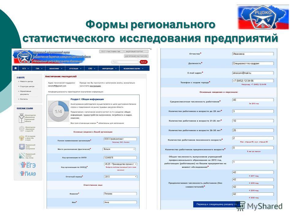 Формы регионального статистического исследования предприятий