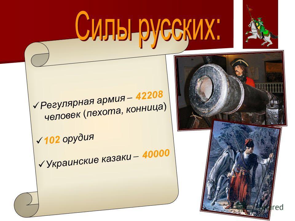 Регулярная армия ̶ 42208 человек (пехота, конница) 102 орудия Украинские казаки ̶ 40000